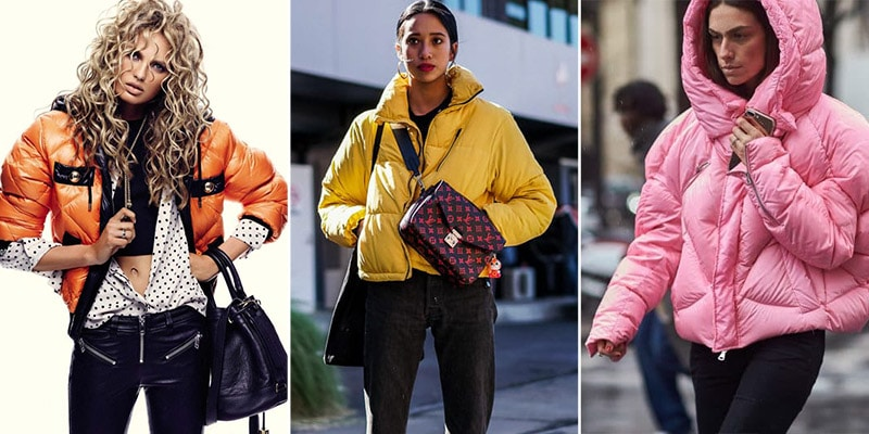 Девушки в дутых куртках ярких цветов