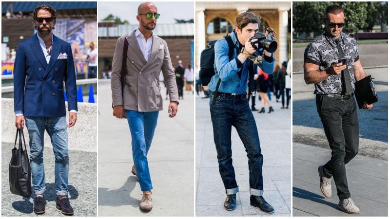 Парни в джинсах и ботинках дерби