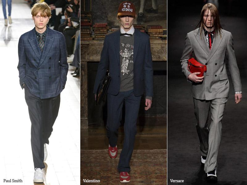 тренд-1 Костюм носят с кроссовками - мужская мода осень/зима 2017-2018 г.