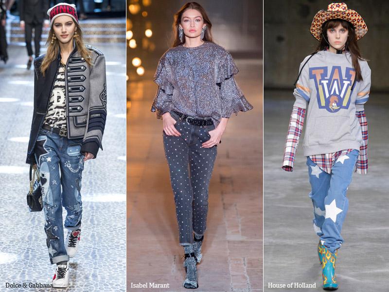тренд 1. украшенные принтами, жемчугом, стразами - модные джинсы осень/зима 2017-2018