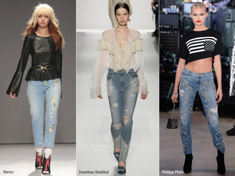 тренд 1. украшенные принтами, жемчугом, стразами 2 - модные джинсы осень/зима 2017-2018