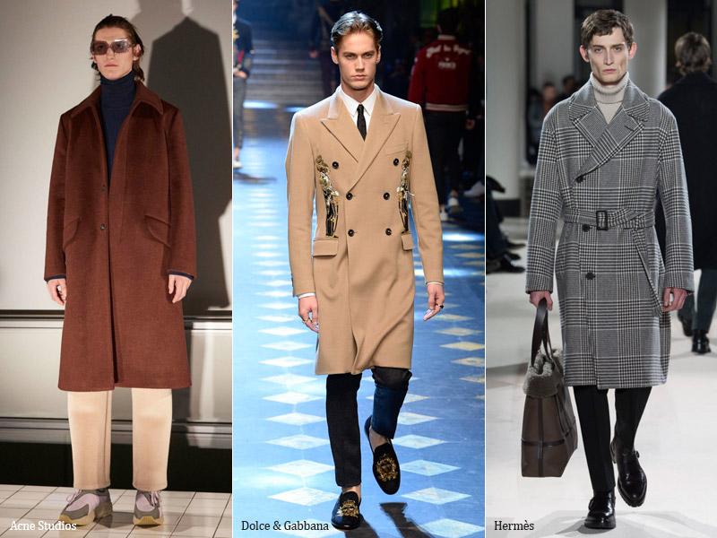 тренд-4 Прямое пальто средней длинны - мужская мода осень/зима 2017-2018 г.