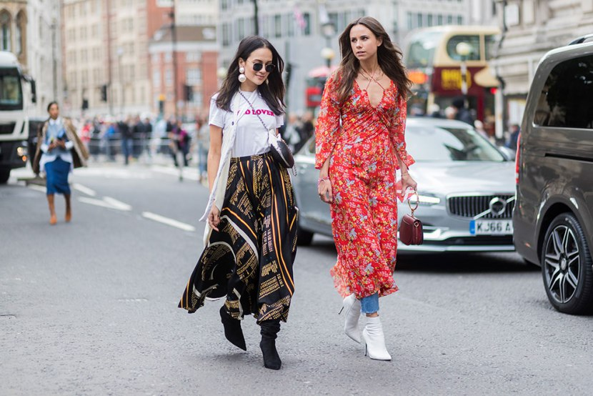 Модели на улице Лондона во время недели моды