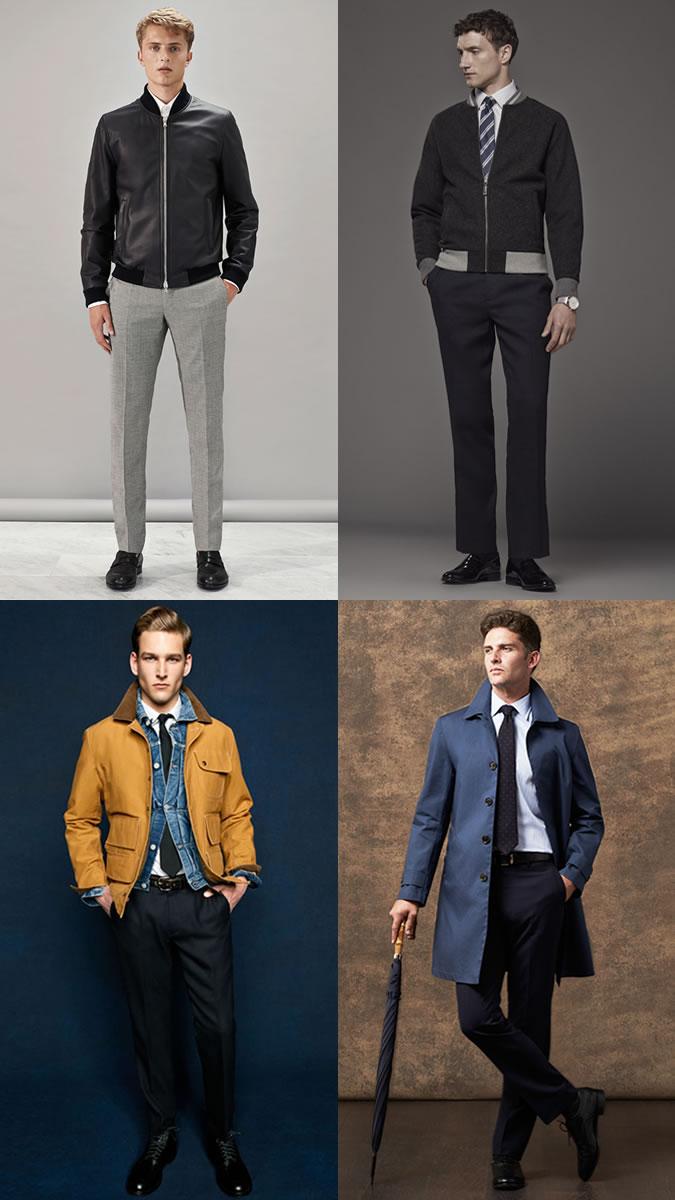 Парни в брюках и куртках