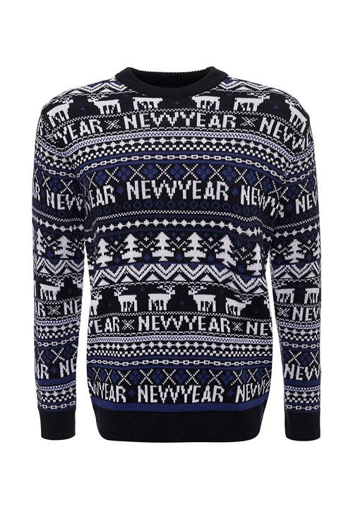 Новогодний темный свитер с оленями
