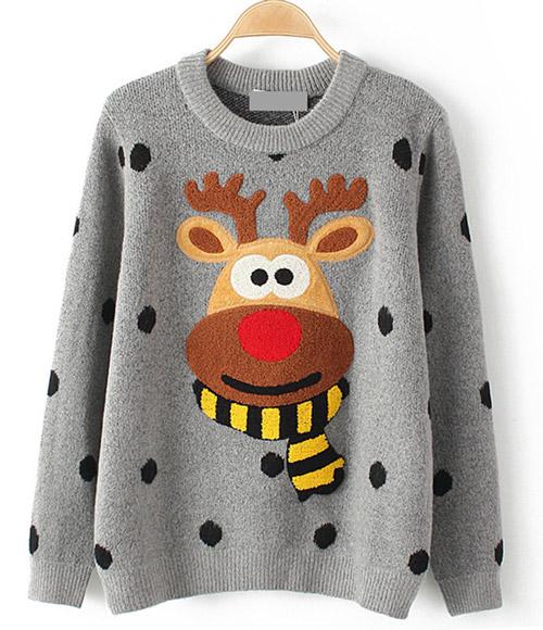 Серый свитер с веселым оленем