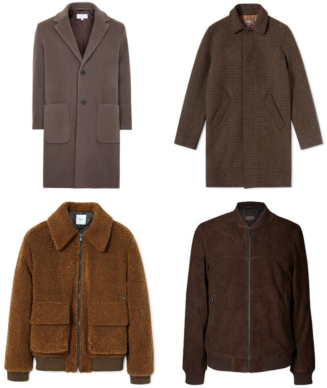 Верхняя одежда коричневого цвета ключевые детали