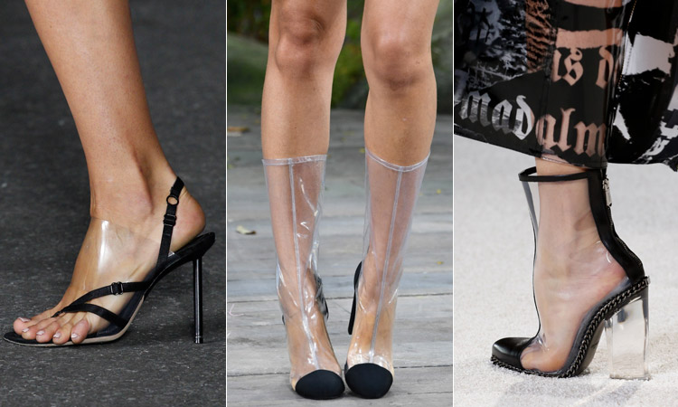тренд 3 - обувь из прозрачного пластика модная обувь весна лето 2018
