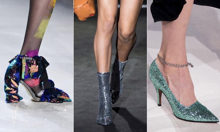 тренд 4 - яркая и блестящая обувь модная обувь весна лето 2018