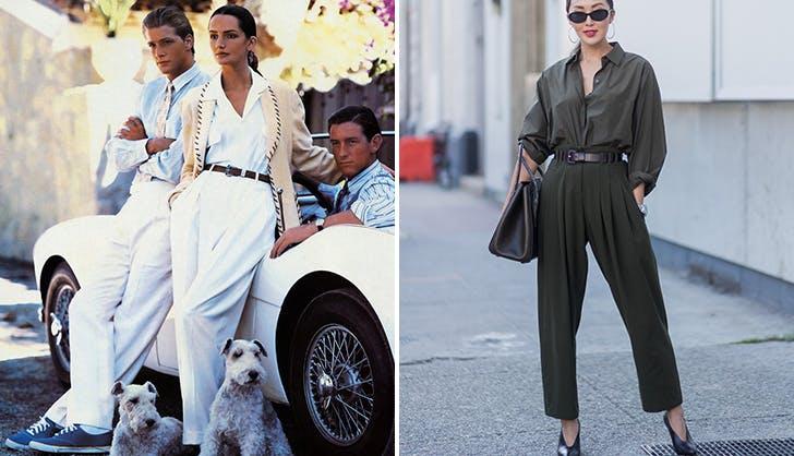 Девушка в широких брюках с тонким поясом и блузке с длинными рукавами