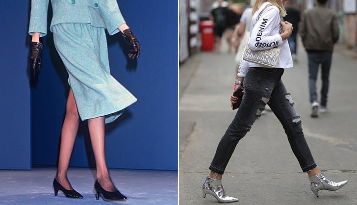 Девушки с туфлях на низком остром каблуке