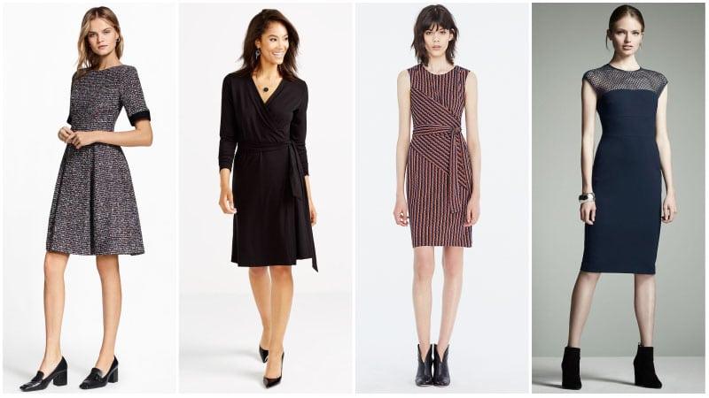 Девушки в офисных платьях миди