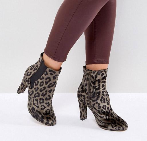 Леопардовые ботильоны на каблуке