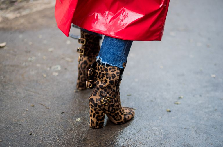 Леопардовые ботильоны на толстом каблуке