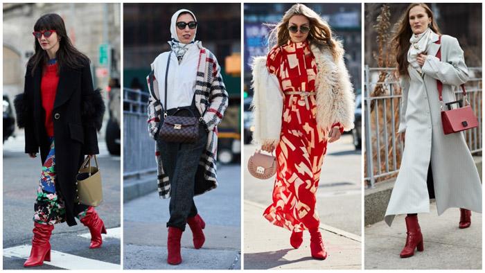Девушки в модных красных сапогах и ботинках