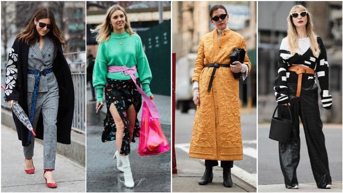 Девушки в нарядах с длинными поясами