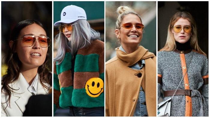 Девушки в очках авиаторах на улицах нью-йорка