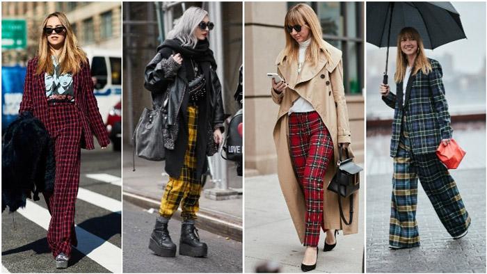 Модные девушки на улицу в брюках в клетку