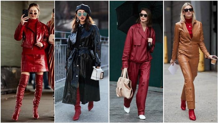 Модные девушки в кожаных нарядах с ног до головы