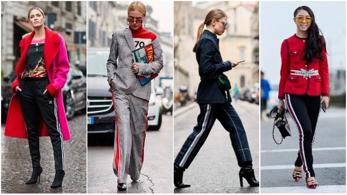 Девушка в брюках с лампасами, спорт шик