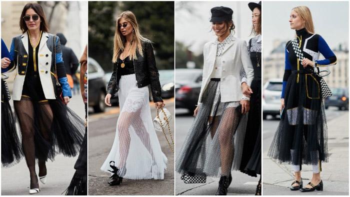 Девушка в модных прозрачных юбках