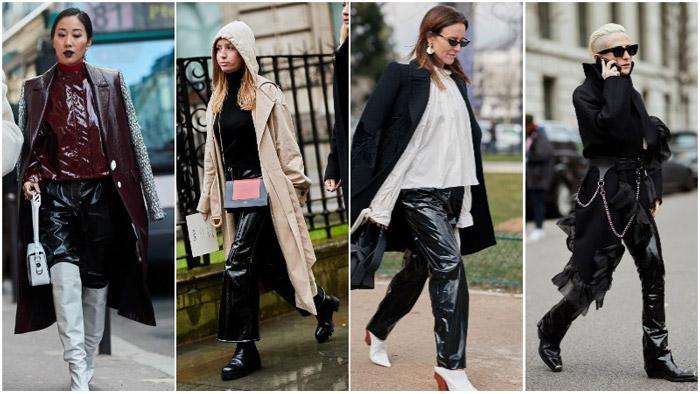 Девушки в лакированых кожаных брюках