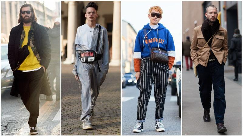 Модные мужчины с сумками через плечо