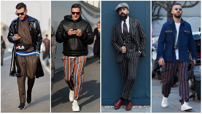 Мужчины в брюках в полоску