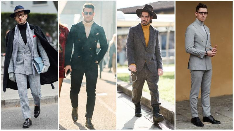 Мужчины в деловых костюмах в клетку