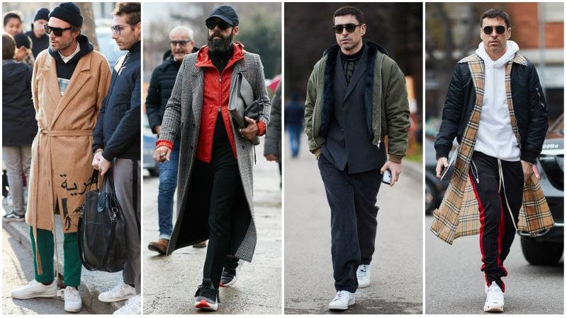 Мужчины в нарядах с атлетическими акцентами