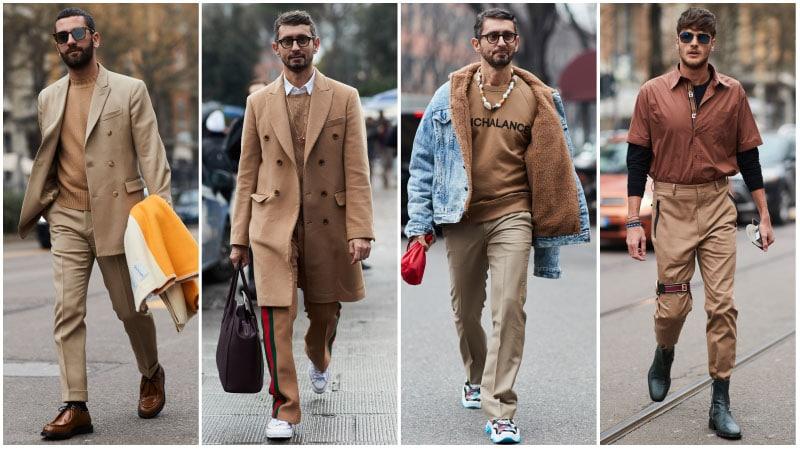 Мужчины в нарядах цвета кемел, деловой образ