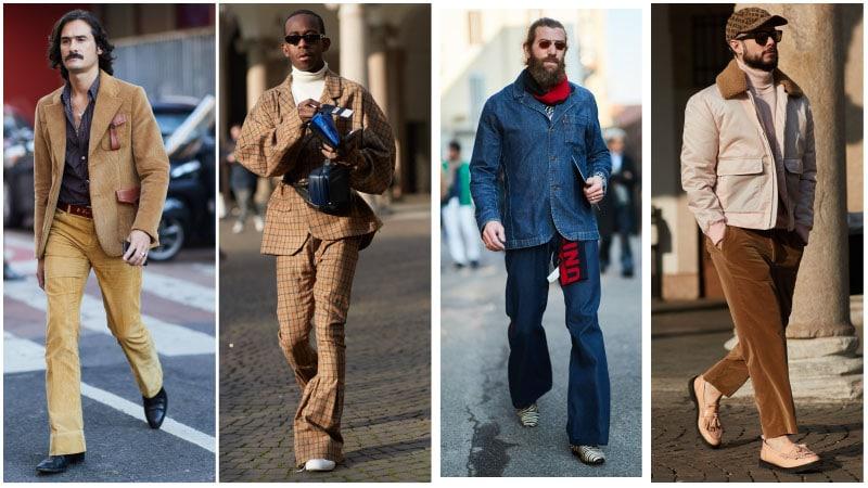 Мужчины в нарядах в стиле 70-ых годов