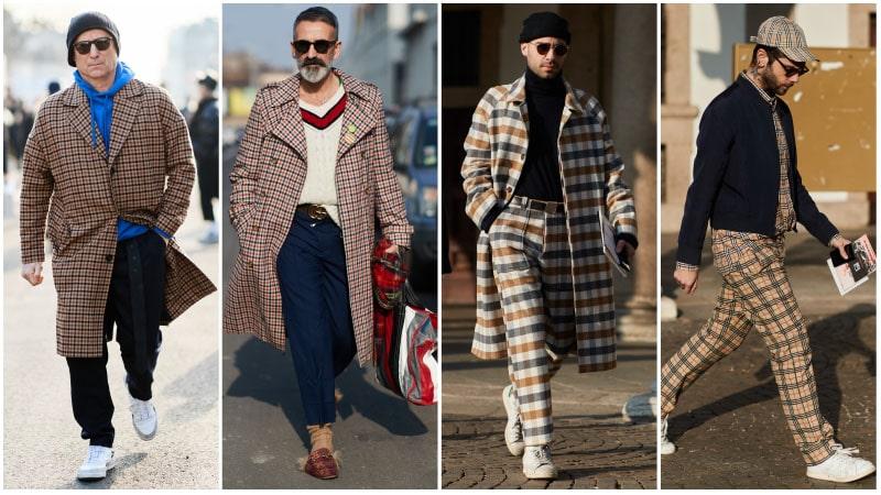 Мужчины в винтажных образах в клетку