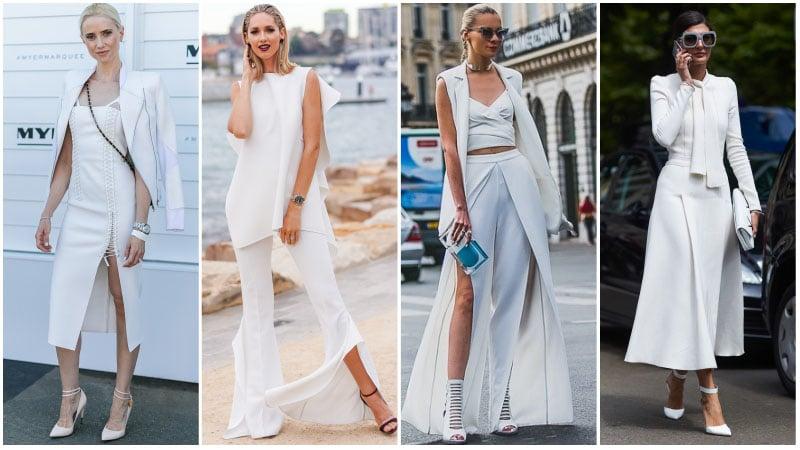 Девушки в белых нарядах для деловых встреч