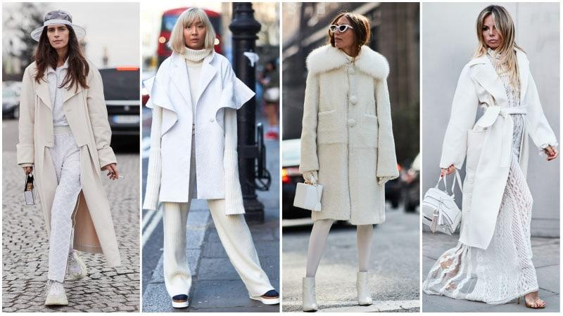 Девушки в белых нарядах для зимы