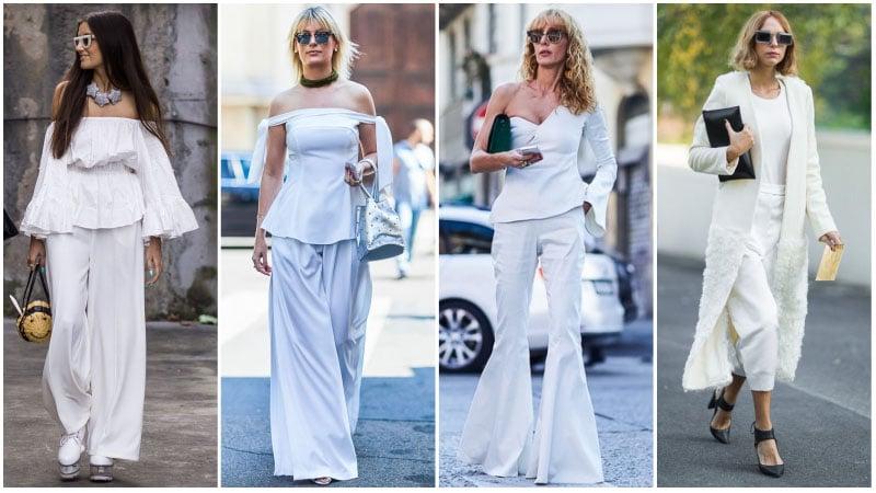 Девушки в белых нарядах с брюками