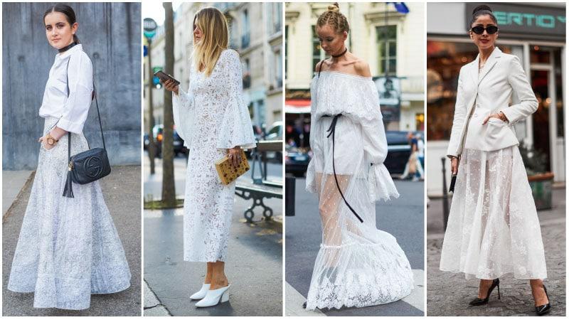 Девушки в красивых белых нарядах с кружевом