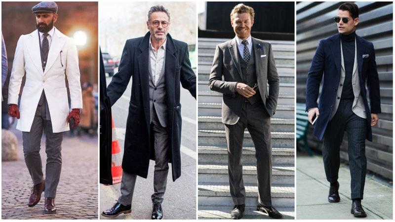 Мужчины в дерби и классическом костюме, деловой стиль