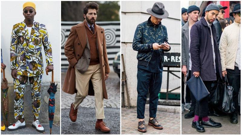 Мужчины в обуви дерби-броги, уличный стиль