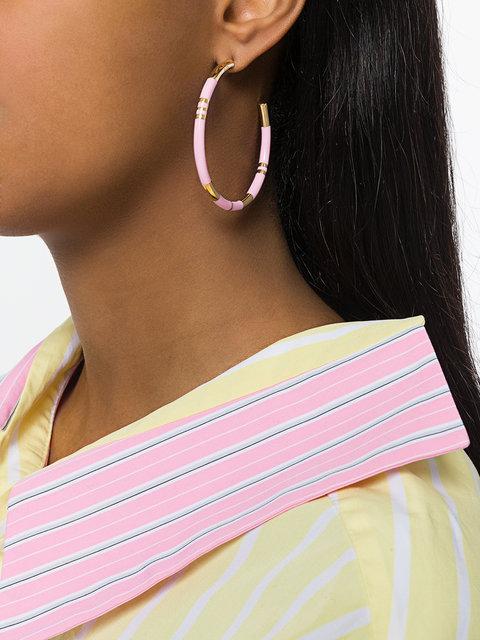 Розовые серьги обручи тренд лета