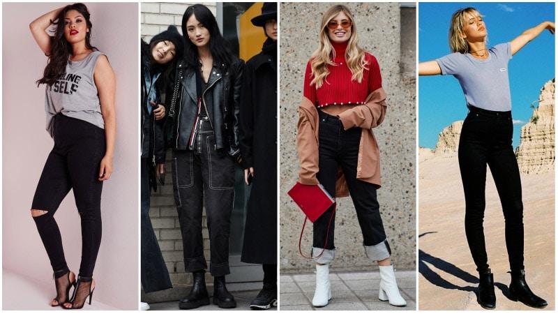 Девушки в черных джинсах с высокой талией