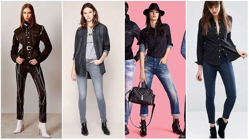 Девушки в черных джинсовых рубашках и джинсах