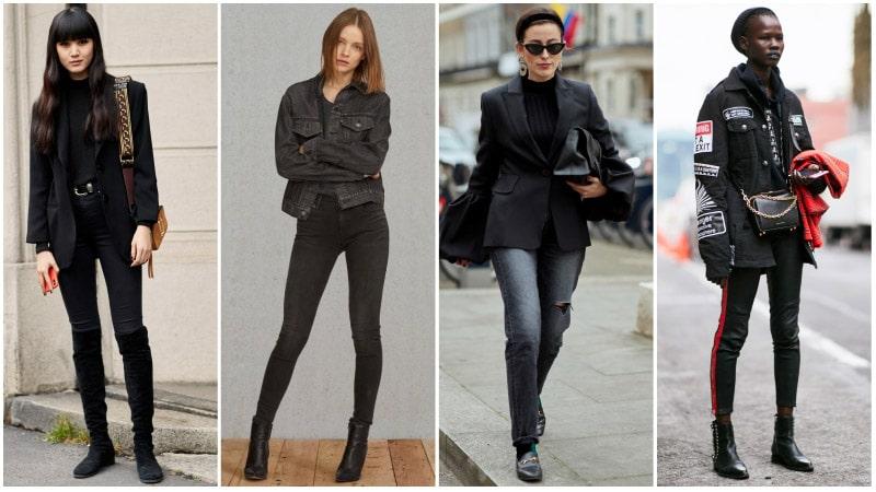 Девушки в черных тотал луках с джинсами и жакетом