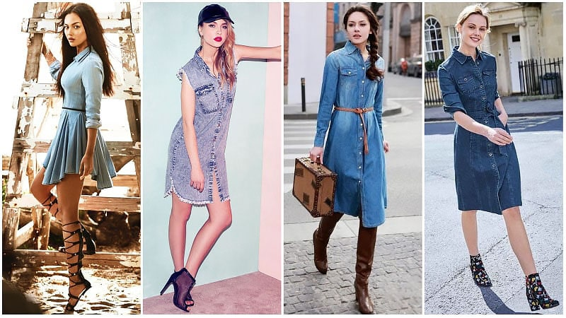 Девушки в джинсовых платьях рубашка