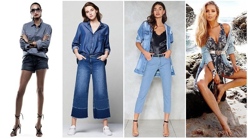 Девушки в джинсовых рубашках оверсайз