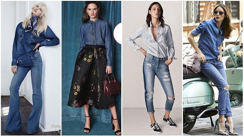 Девушки в джинсовых рубашках с длинным рукавом