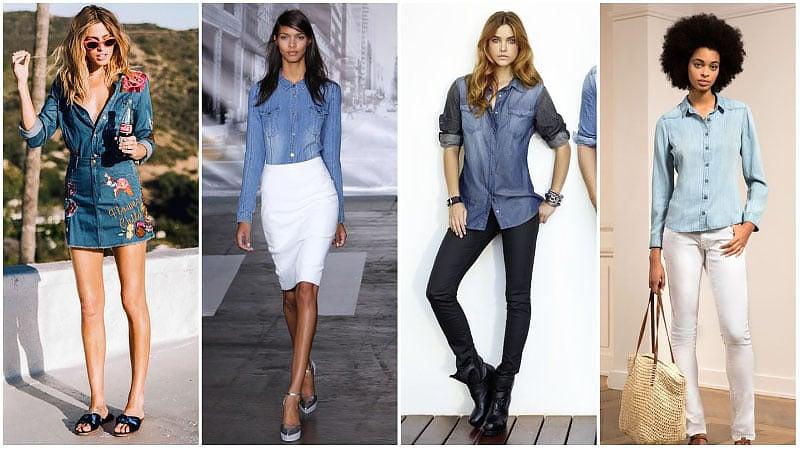 Девушки в джинсовых рубашках с длинными рукавами