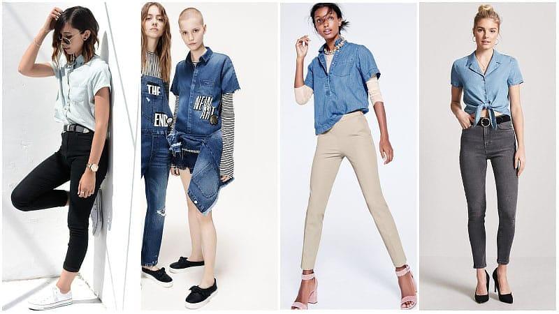 Девушки в джинсовых рубашках с коротким рукавом