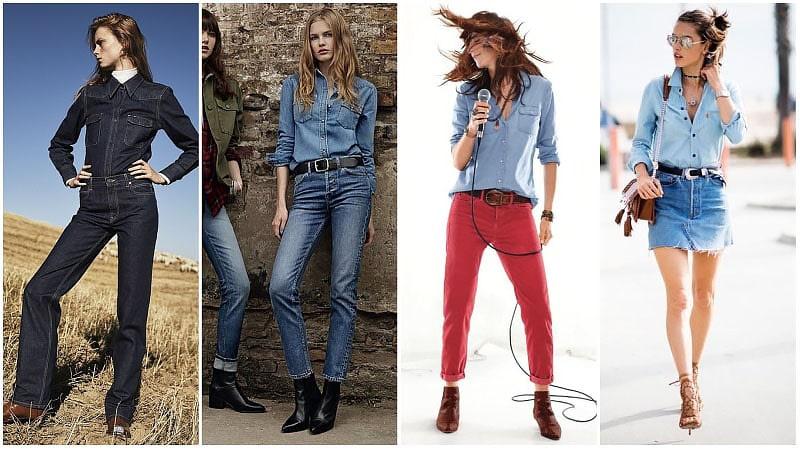 Девушки в джинсовых рубашках в стиле вестерн