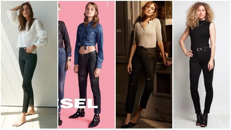 Девушки в облегающих черных джинсах